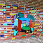 Schülerarbeit im Treppenhaus Schorkstr.
